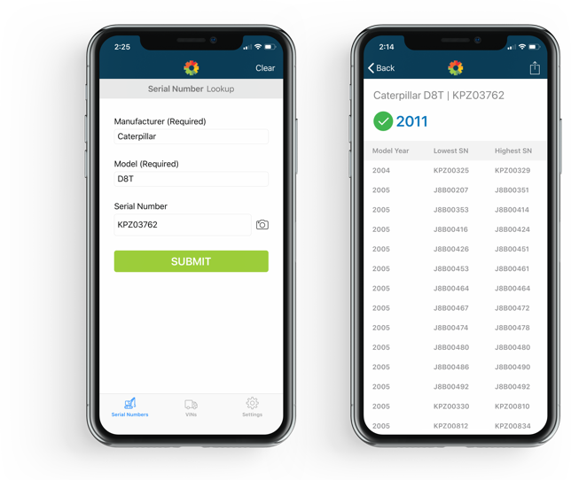 Serial number verification app on two mobile phones